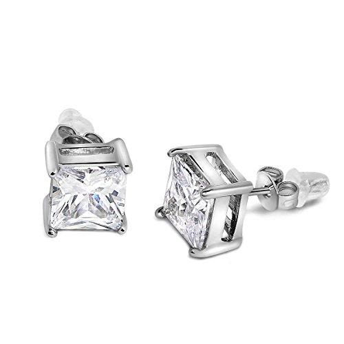 Buyless Fashion Niñas Pendientes de plata blanco cuadrado de cristal de la CZ En caja de regalo
