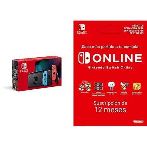 Nintendo Switch - Consola Estándar, Color Azul Neón/Rojo Neón (Modelo 2019) Switch Online - 12 Meses (Código de Descarga)