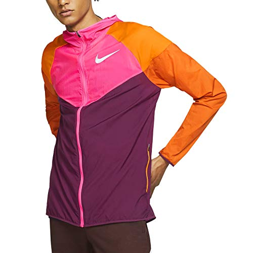 Nike Windrunner Men's Running Jacket (Bordeaux/Laser Fuchsia/Cinder Orange, Large)