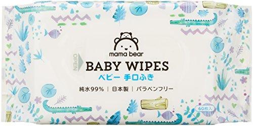 【手口ふき 】Mama Bear ベビー 手口ふき 純水99% 60枚入×20個 (1200枚) [ケース品] [Amazonブランド] 日本製 パラベンフリー