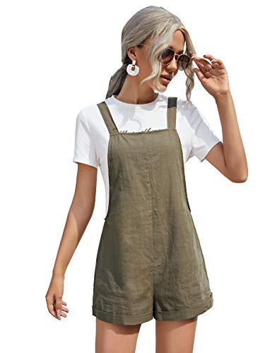 SheIn Women's Sleeveless Wide Leg Rolled Hem Pinafore Rompers Overalls Shorts Army Green Medium