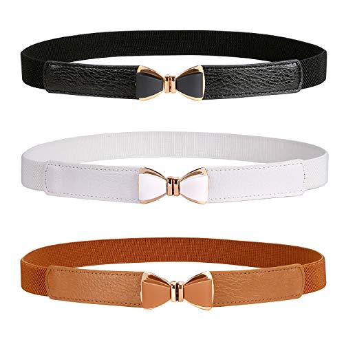 Women Skinny Stretchy Waist Belt for Dress Ladies Elastic Thin Belt Plus Size (Suit for waist size 26'-33', AA-black+white+brown)