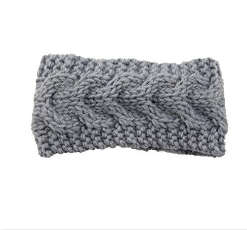 Hlnaughty Knit Wollen Hoofdband Baby Winter Oor Warm Cover Hoofddeksels Band Gebreide Haak Kids Haarband Wikkel Grijs