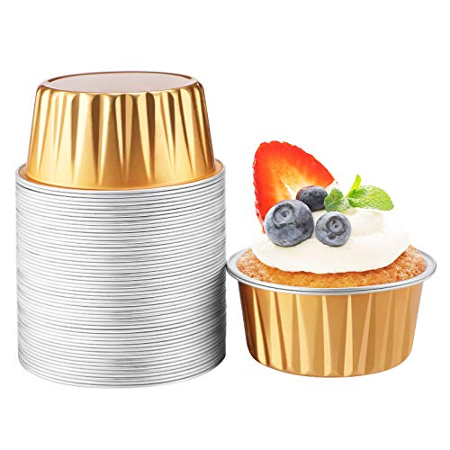 Gold Disposable Ramekins, Beasea 5 oz 50 Pack 3 Inch Muffin Liners Cups Aluminum Foil Cups Mini Creme Brulee Muffin Cupcake Baking Cup Mini Pudding Cups for Party Wedding Birthday
