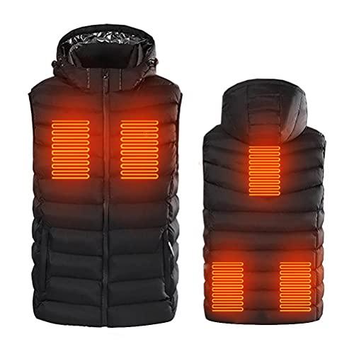 spier Chaleco calefactor para hombres y mujeres, recargable por USB, chaqueta ligera y cálida para hombres y mujeres, al aire libre, Negro , XXL