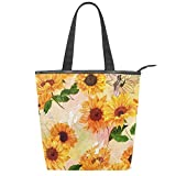 Spring Sunflowers Canvas Tote Bag Retro Floral Yellow Flowers Casual Shoulder Bag Handbag with Zipper Travel School Gym Bag, Eco-Friendly Reusable Grocery Shopping Bags for Women