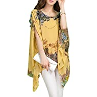 """Round Neck Beach Loose Shirt,Batwing Sleeve Blouse,Semi Sheer Chiffon Tops One Size: Bust:160cm/63""""; Length: 70cm/27.5""""; Sleeve: 40cm/15.7"""" Attractive style and beautiful design,Soft and comfortable to wear,Very pretty and flowy Package Content: 1 x ..."""
