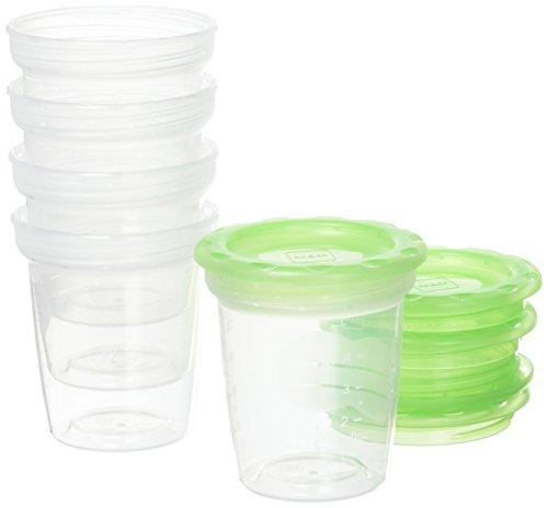 MAM Pots de conservation – Lot de 5 pots de conservation 120 ml pour lait maternel et aliments bébé avec couvercle hermétique