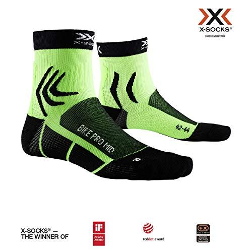 X-Socks Bike PRO Mid, Calzini da Ciclismo Unisex-Adulto, Opal Black/Amazonas Green, 42-44