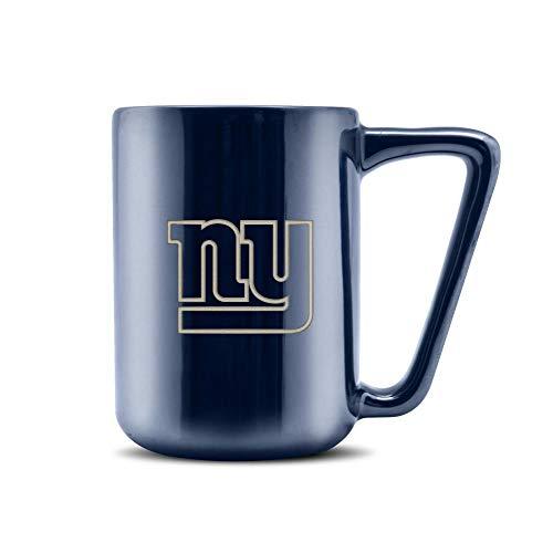 NFL New York Giants Taza de café de cerámica con acabado metálico, cerámica profesional, logotipo del equipo grabado con láser, sin BPA, apta para lavavajillas, 473 ml