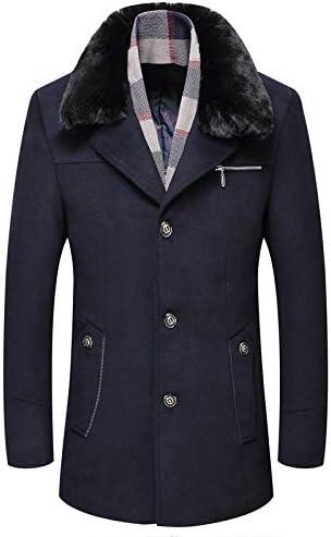Nomber 4 Colors Autumn Winter Men's Wool Coat Wool Coat Men's Plush Thickened Wool Coat Men Blend Hooded Pea Outerwear