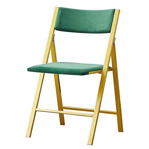 UELEGANS Set di 4 Sedie da Pranzo Sedia per Cucina in Stile Retro Vintage con Seduta in Pelle Scamosciata & Robuste Gambe in Metallo, Imbottito Sedile Senza Braccia per Sala da Pranzo,Verde