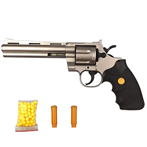 Evil Wear Softair-Pistole Revolver Western Spielzeug-Waffen Metall Hand-Waffe XL Silber Federdruck-Sports Weapon im Set mit Kugeln