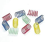 An assortment of 10 Ethical Pet Wide Colorful Springs in blue, yellow, red and green.