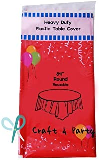 Evershine (12-Pack) Heavy Duty Plastic Table Covers Tablecloth (Reusable) (Round 84