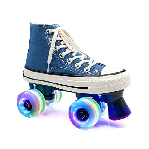 ZXSZX Zapatos para Damas Y Caballeros, Adultos Cómodos LED Rollerskates Quad Patinaje Al Aire Libre para Niñas Y Niños, Blau-38