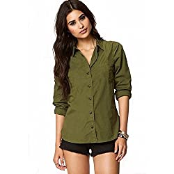 Fashion Village Green Solid Shirt for Womens/Girls