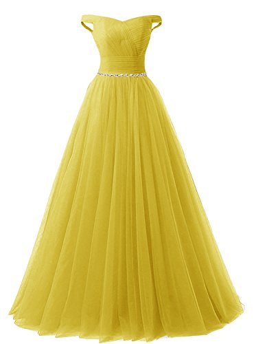 APXPF Women's Long Tulle Crystal Formal Prom Dress Quinceanera Dress Ball Gown Yellow US18