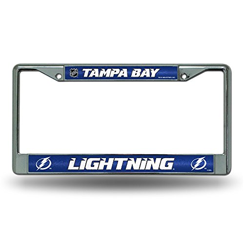 NHL Rico Industries Bling Chrome License Plate Frame with Glitter Accent, Tampa Bay Lightning