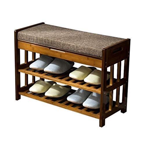 ZZYE Zapatero Estante de zapatos de madera maciza con mesa de gabinete de almacenamiento 2 niveles organizador estantes entrada espacio ahorro de bambú muebles esponja asientos (52 cm, 70 cm) Perchero