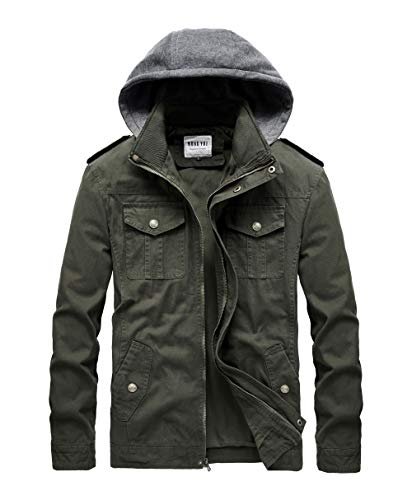 RongYue Men's Casual Cotton Military Windbreaker Jacket with Removable Hood