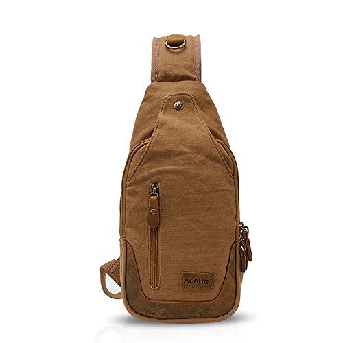 FANDARE Retro Brusttasche Leinwand Sling Bag Sporttasche Tragbar Rucksack Schultertasche Daypacks Umhängetasche für Outdoor Reisen Wandern Radfahren Bergsteigen Reisen Dauerhaft Gelb