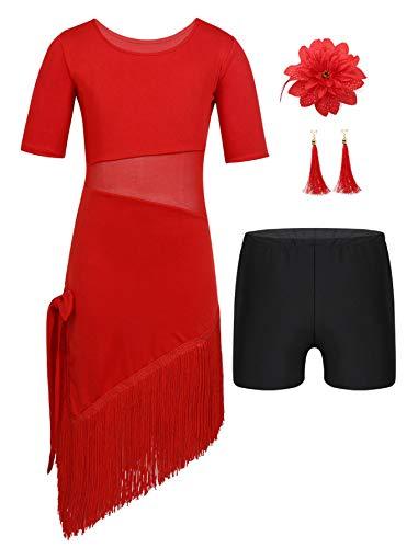 Agoky Mädchen Tanzkleid Latein amerikanische Tänze Flamingo Kostüm mit Ohrringe und Blumen Haarschmuck Sport Shorts Kleidung Set Rot 110-116/5-6 Jahre