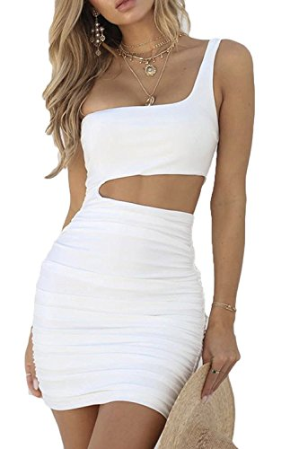 CHYRII Woman Sexy Bodycon One Shoulder Ruched Cutout Mini Club Dress White M