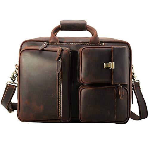 Vintage Bag Real Leather Large Briefcase Men 17 Inch Multi-Function Laptop Bag Vintage Crazy Horse Leather Backpack Handbag Shoulder Bag Crossbody Bag (Color : Dark Brown, Size : S)