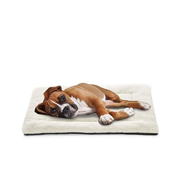INVENHO Dog Bed Crate Pad Comfortable Soft Crate Bed Anti-Slip Washable Dog Crate Mat for Large Medium Dogs & Cats White