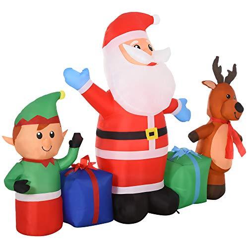 HOMCOM Papá Noel Inflable Decoración Navideña Elfo y Reno con 6 Luces...