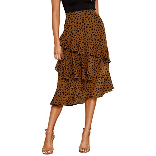 YueLove Damen Midiröcke Fashion Leopard Printed RüSchen Multi Layer Cocktail Abend Party Flowy Röcke Festliche Vielseitige Faltenrock