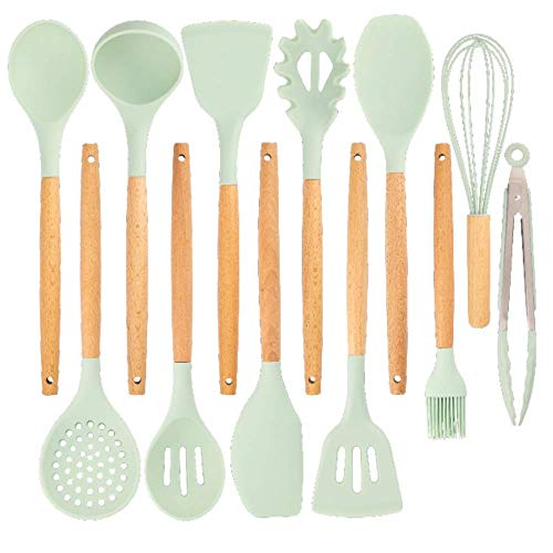 Kitchen Silicone Utensils in Holder. Kitchen Cooking BPA Free Silicone Set Includes 13 Cooking Tools. None Stick Silicone with Heat Resistant Wooden Handles. Mint Set California