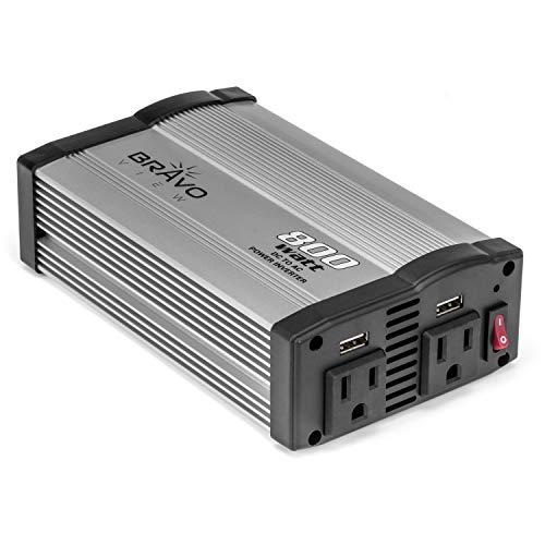 Bravo View 400W Continuous 800W Peak Power Inverter, DC 12V to 110V AC Car Inverter with 2 AC Outlets and 2 USB Charging Ports (INV-800U)