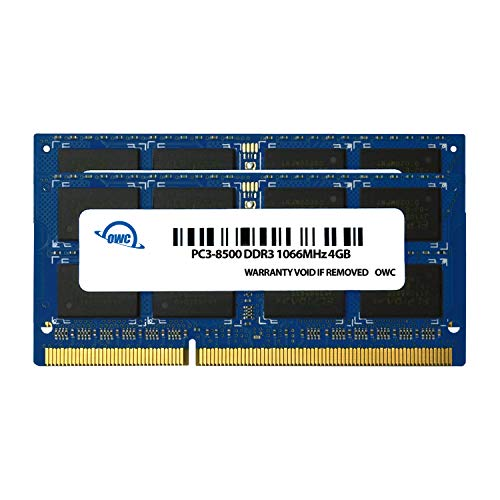 OWC 8 GB (2 X 4GB) PC8500 DDR3 1066 MHz 204-pin Memory Upgrade Kit, (OWC8566DDR3S8GP), for MacBook Pro, MacBook, Mac Mini and iMac