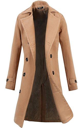 Lende Men Trench Coat Winter Long Jacket Double Breasted Overcoat Khaki