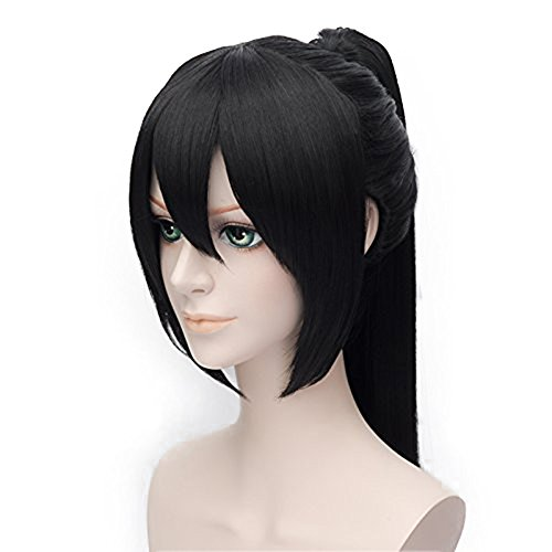 Alacos Long Straight Stylish Ponytail Black Anime Cosplay Party Wig +Wig Cap