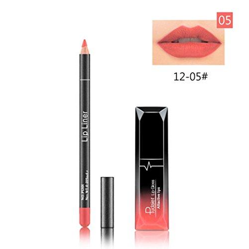 Fulltime 12 Couleurs Longue durée de rouge à lèvres imperméable mat Liquid Gloss + LIP liner cosmétiques ensemble (05#)
