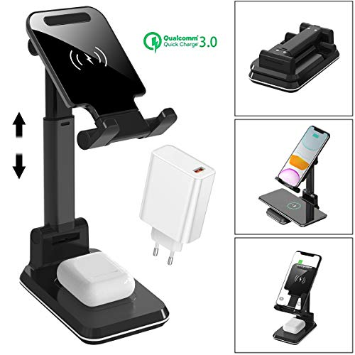 AICase Supporto Tablet Caricatore Wireless, Stazione di Ricarica Rapida Qi 10W Stand Dock Compatibile con iPhone SE 2020/11 X/XS/XR/XS Max/8 Plus,AirPods