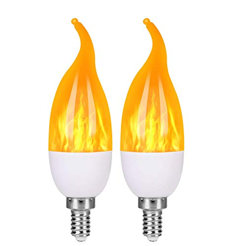 OHLGT E12 Flame Bulbs 2 Pack, 3 Mode LED Candelabra Flame Light Bulb 1.2 Watt Warm White Chandelier Flame Bulbs,1800k Candle Light Bulbs, Flame Tip for Christmas Party Decorations