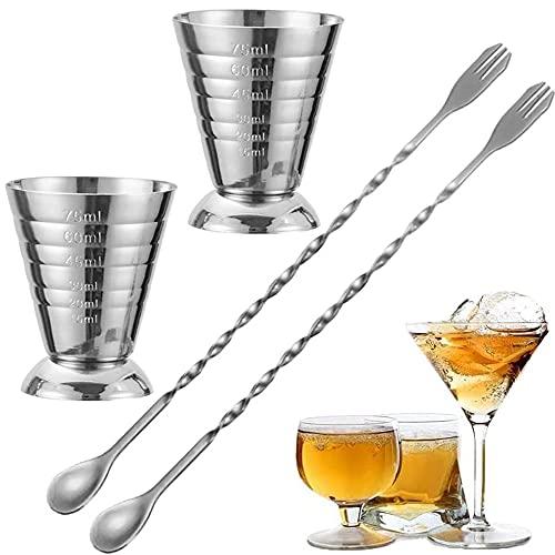 YYUU 4 Pezzi Cocktail Tazza di Misura, Bar Misurini, Cocktail Jigger, Misurazione Accurata, Facile da Pulire, con 2 Cucchiai, per Shaker per Cocktail Bar Party e Vino (75 Ml)