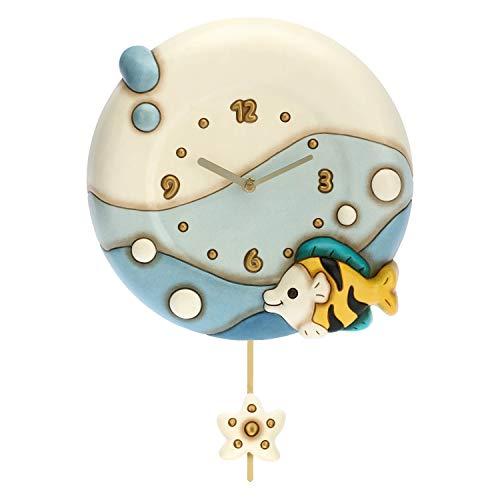 THUN - Orologio a Pendolo con Pesce e Decorazioni in Stile Mare - Accessori e Decorazioni Casa - Linea Mare - 26 x 6,2 x 26 h cm