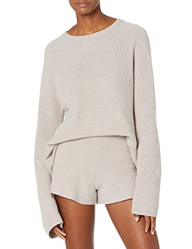 The Drop Women's Alice Crewneck Back Slit Ribbed Pullover Sweater, Porpoise, M