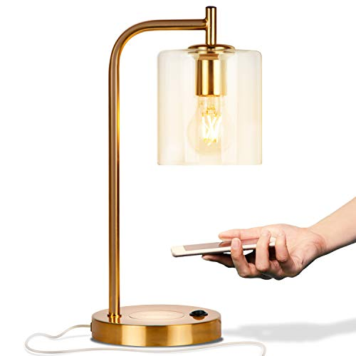brightech desk lamps Brightech Elizabeth Office Desk Lamp - Wireless Charging Pad and USB Port – Living Room Table Light for Midcentury, Industrial & Farmhouse Decor - Hanging Glass Shade - LED Bulb - Brass Gold Color