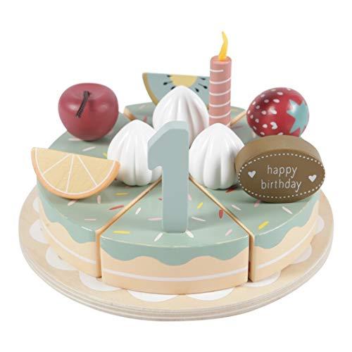 Tiamo Little Dutch 4494 XL Holz Torte Geburtstagskuchen mit Zahlen und Kerzen 18x4 cm 26-teilig