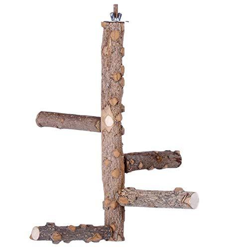 LIUZHI Juguetes para loros de pájaros, columpio de loro percas de madera giratoria tronco para mascotas jaula de pájaro colgante barra