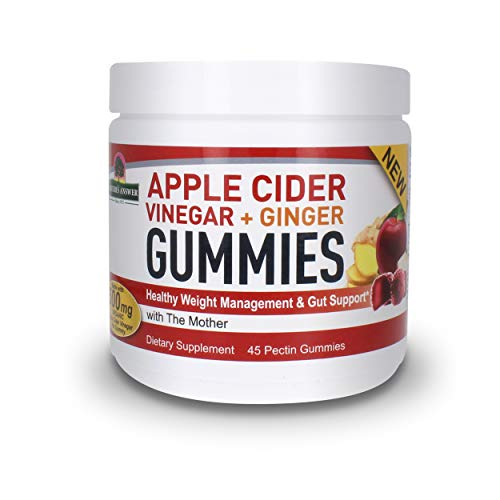 Nature's Answer – Apple Cider Vinegar with Ginger Gummies Healthy Weight Management, with The Mother, Dietary Supplement, Supports Healthy Gut, Digestion, Detox, Cleanse, Pectin Gummies