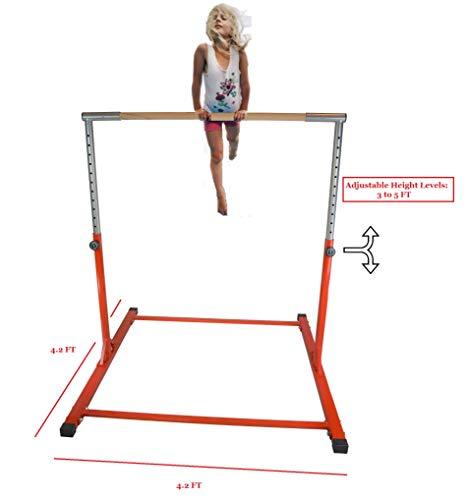 Athletic Horizontal Bar 5 Ft Adjustable Bars 300 Lb Capacity Standard Kip Kids Jungle Jr Training Purple