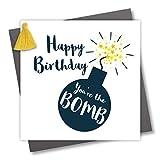 Geburtstagskarte mit Quaste, Aufschrift'Happy Birthday You're the Bomb'