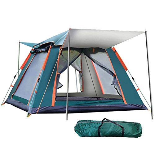 QYY Portable Automatictent Fits 3-4 People, Pop Up Tents Waterproof Windproof with Carry Bag with Vestibule Camping Tent Easy to Set Up and StoreGreen